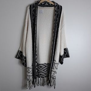 Zara Knit| Chunky Open Front Boho Tassel Cardigan